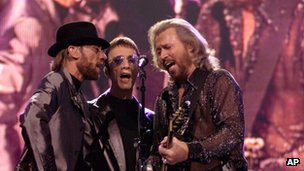 The Bee Gees performing in 1999