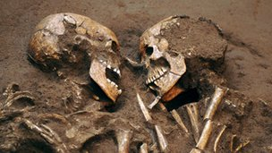 Two embracing Neolithic skeletons, known as the Valdaro Lovers
