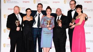The cast of This is England 88 with their BAFTA television award for Best mini series. Photo: Ian West/PA Wire