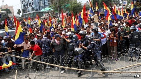 File photo (May 2011)  of police clashing with pro-royalist with Rastriya Prajatantra Party-Nepal supporters