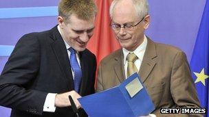 EU president Herman Van Rompuy (L) and Montenegro's Prime Minister Igor Luksic