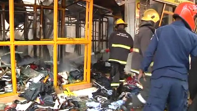 Shop damaged by blast in Nairobi