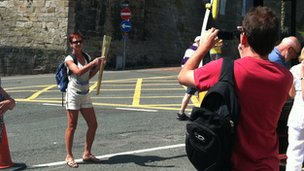 Lady with torch in Caernarfon