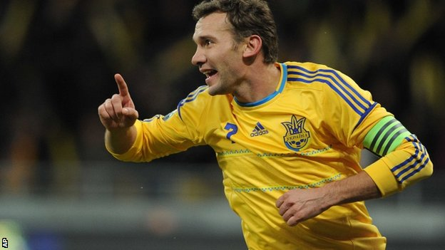 Andriy Shevchenko in action for Ukraine