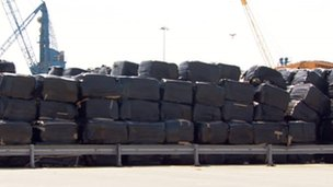 Waste bales at Goole docks