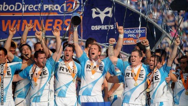 Ospreys celebrate their Pro12 final win
