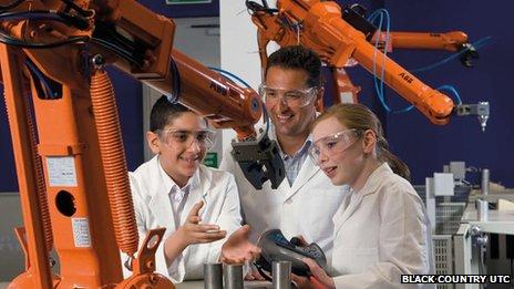 Pupils in engineering lab