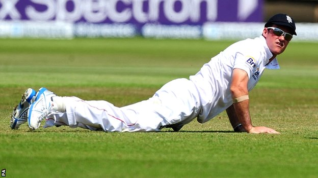 England captain Andrew Strauss on fielding duty at Trent Bridge