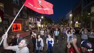 Students march in night demonstrations against tuition fee hikes, Montreal, Canada 26 May 2012