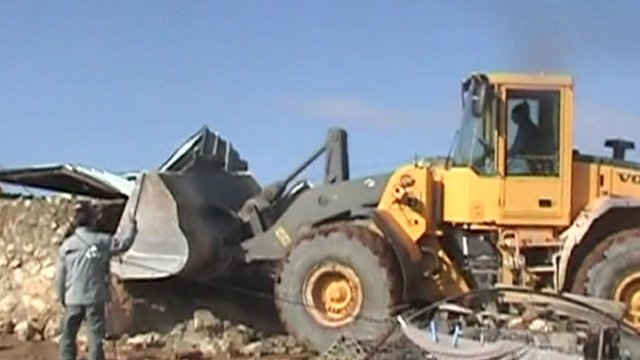 Bulldozer in West Bank in January 2012