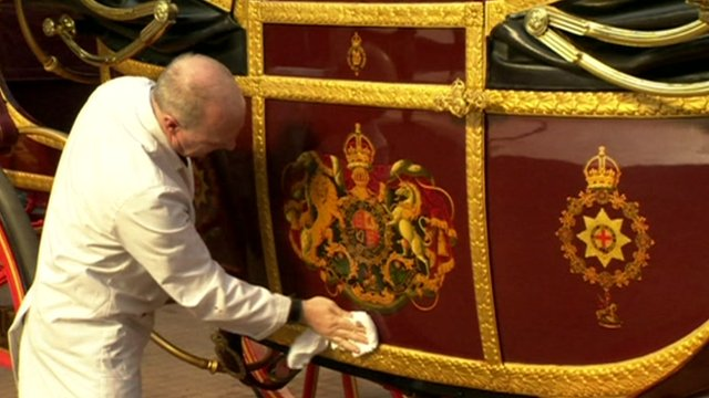 Polishing the state landau, to be used in the  Queen's Diamond Jubilee pageant