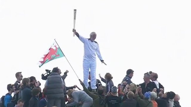 The torch was carried to the top of Snowdon by Sir Chris Bonington