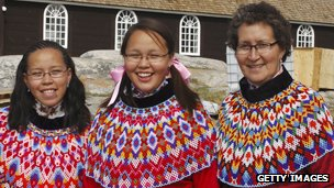 Inuit in traditional garments