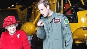 The Queen with Prince William at RAF Valley