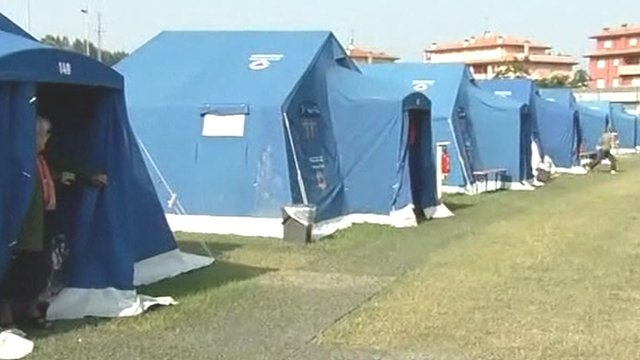 Make-shift tents in Northern Italy