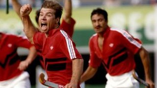 Stephen Batchelor of Great Britain celebrates scoring against Germany in the 1988 final