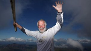 Sir Chris Bonington on the Snowdon summit