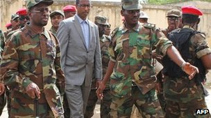 President Sheikh Sharif Sheikh Ahmed surrounded by soldiers - 29 May 2012