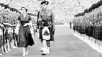 HM The Queen inspects the Highland Light Infantry at Hampden Park, Glasgow