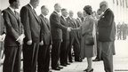 The Queen meeting officials at the opening of the Forth Road Bridge, 1964.