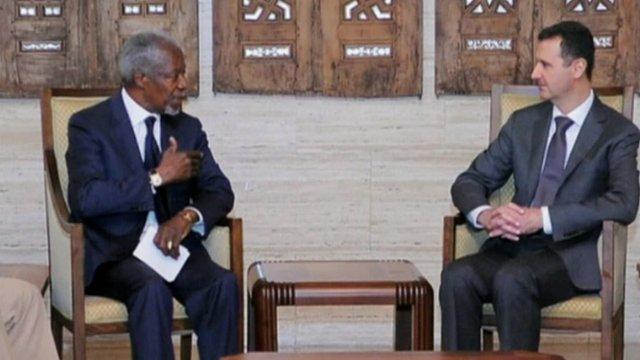 Kofi Annan with President Assad