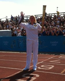 Kelly Davies with the torch