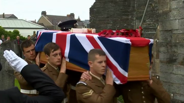 L/Cpl Davies' coffin being borne into church