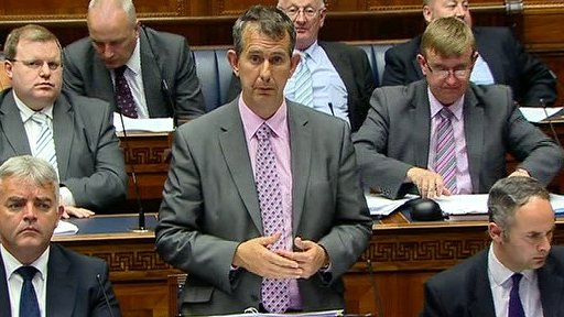 Health Minister Edwin Poots and First Minister Peter Robinson answered questions on the floor of the house.