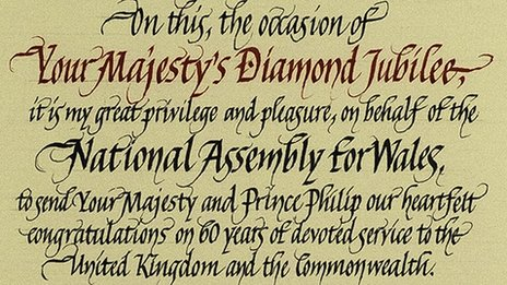 A detail of scroll marking the Queen's Diamond Jubilee