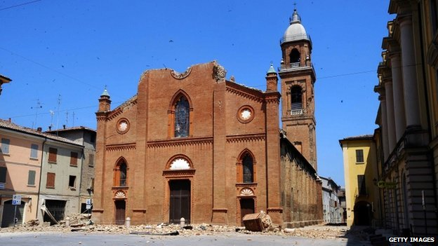Cathedral in Mirandola, Italy, destroyed by an earthquake