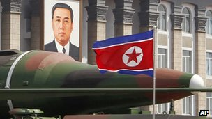 What appears to be a new missile is displayed during a military parade at the Kim Il Sung Square in Pyongyang, North Korea, 9 April 2012