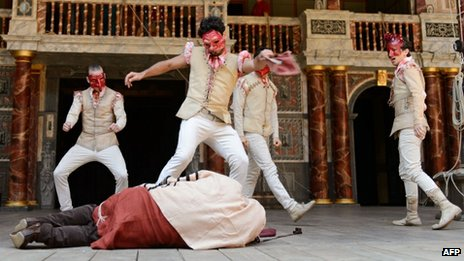 Members of the Habima theatre company from Tel Aviv on stage at the Globe