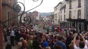 Crowds in Welshpool