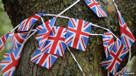 Bunting hanging from a tree