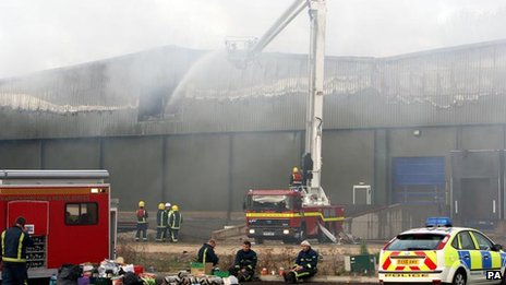 Warehouse on fire 