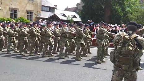 ARRC soldiers parade through Tewkesbury