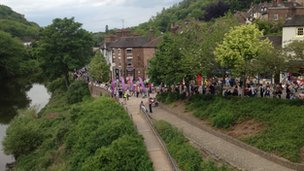 The crowds await the torch in Ironbridge