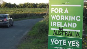 Graffiti on Yes vote poster