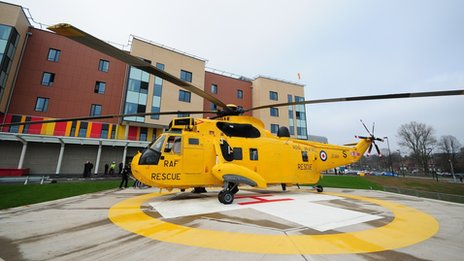 RAF Valley rescue helicopter at University Hospital North Staffs in Stoke on Trent