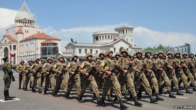 Troops on parade in Stepanakert