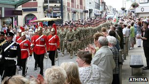 1st Queens Dragoons Guards parade Swansea