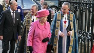 The Queen arrives for Commonwealth Observers Day