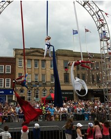 Circus performers in Stafford