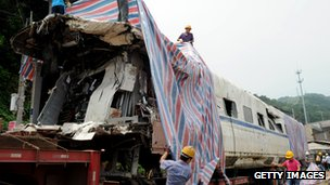 Carriage from the Wenzhou high speed train crash