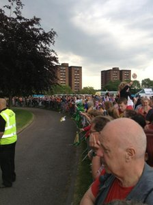 The waiting crowds in Stoke