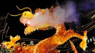 Chinese dragon with water vapour billowing from its mouth
