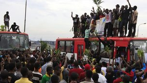 Protesting students from the University of Lagos on top buses - Wednesday 30 May 2012