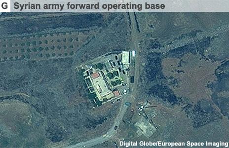 Satellite image showing Syrian army operating base