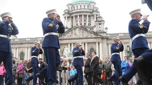 Parade passing city hall