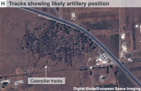 Image showing caterpiller tracks to and from suspected artillery position